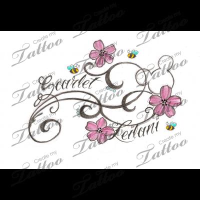 flowery hidden mickey with kids names custom tattoo flowers2 38894. Black Bedroom Furniture Sets. Home Design Ideas