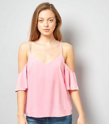 Pink Cold Shoulder Cross Strap Back Top