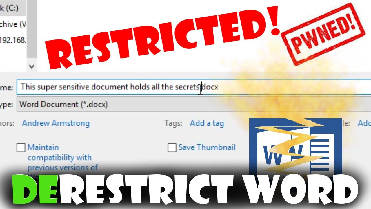 How to remove word editing restrictions even without the