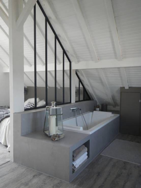Salle de bains avec une verrière d\u0027atelier Maison Pinterest