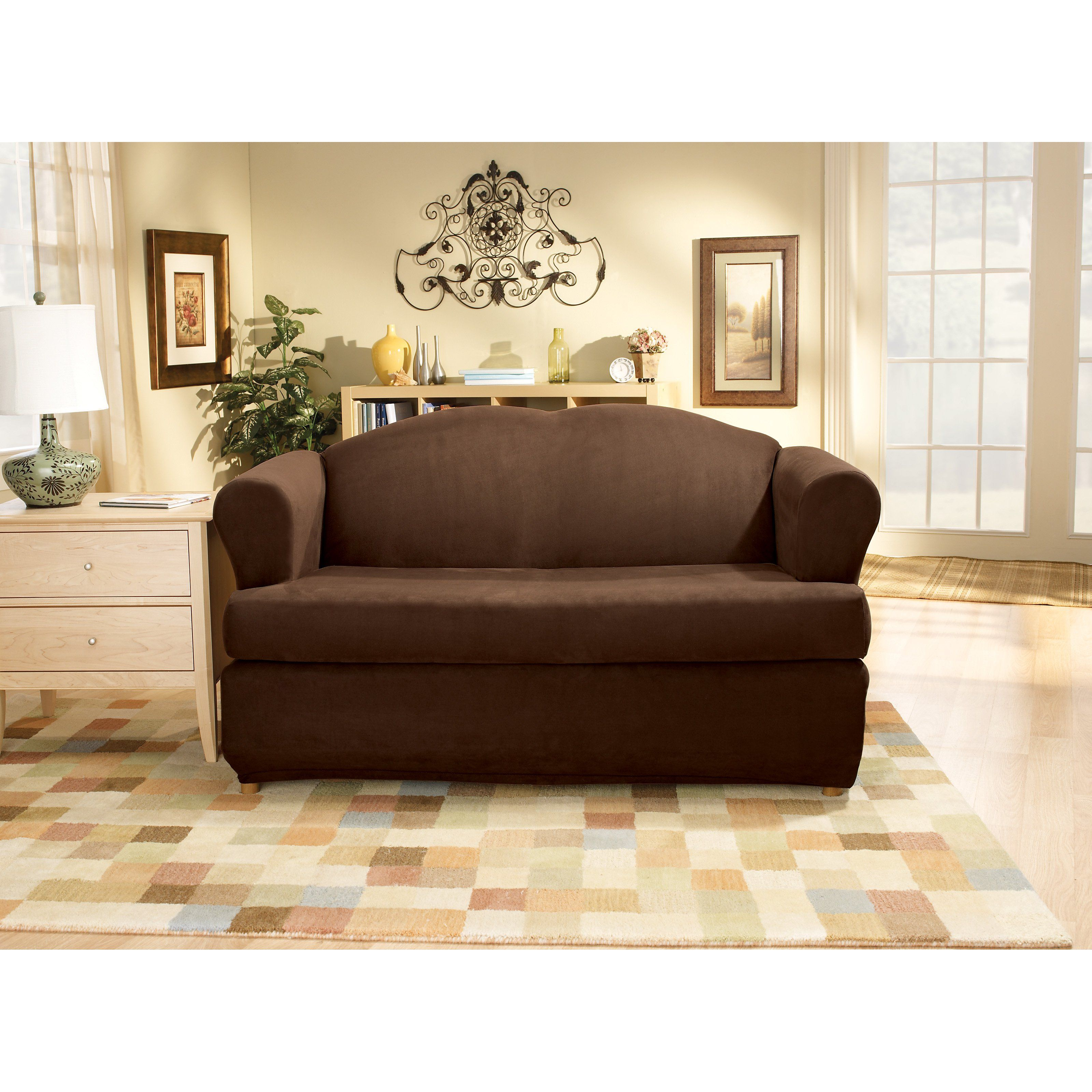 Sure Fit Stretch Suede T Cushion Two Piece Sofa Slipcover   36449
