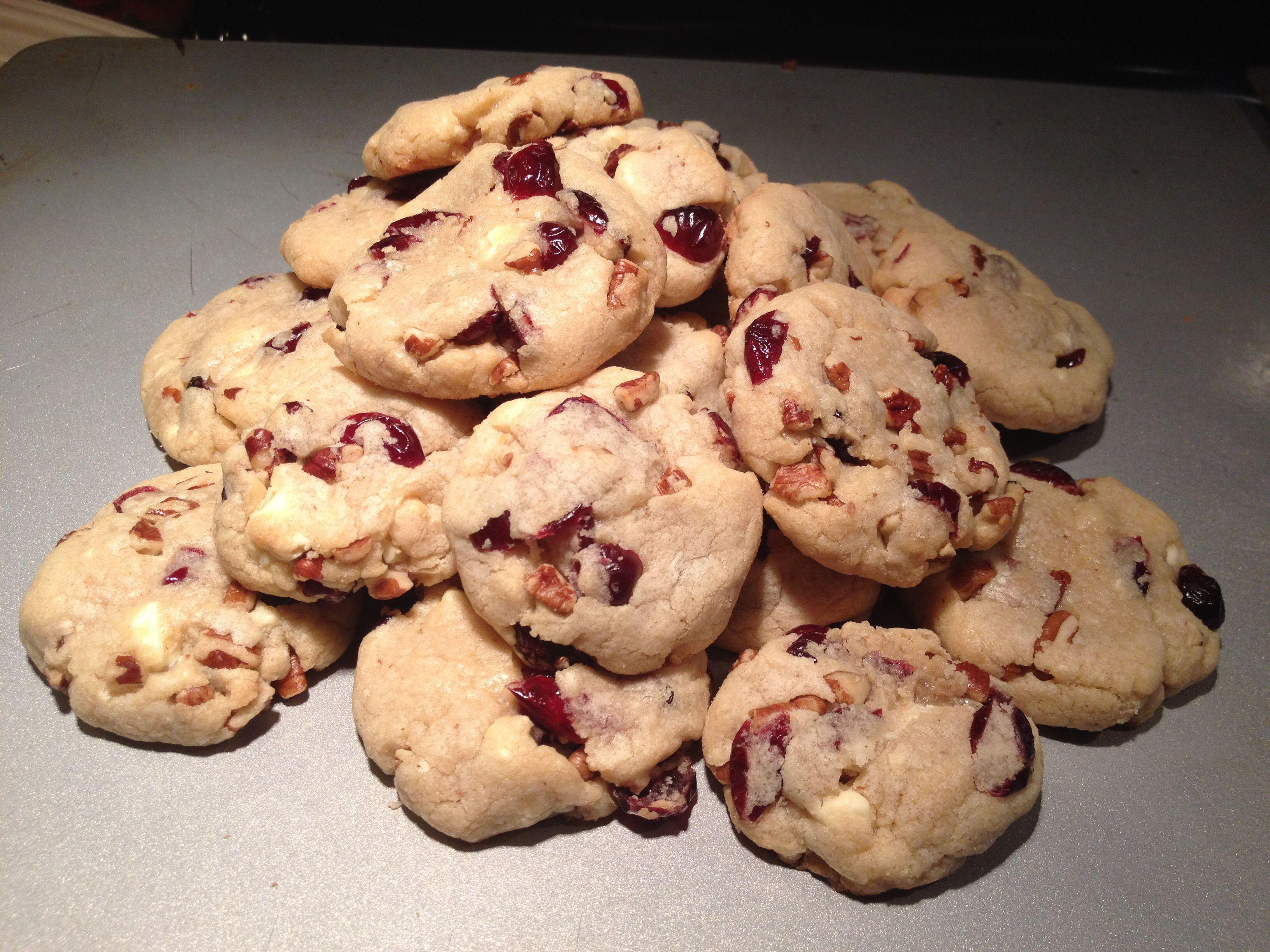 White chocolate cranberry pecan cookies