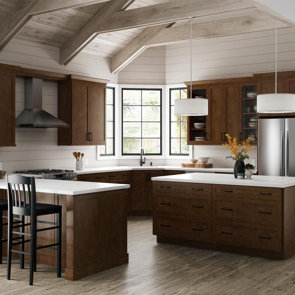 Hampton Bay Designer Series Soleste Assembled 24x30x12 25 In Diagonal Corner Wal Dark Brown Kitchen Cabinets Dark Wood Kitchen Cabinets Brown Kitchen Cabinets