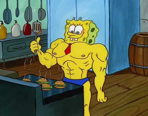 When Spongebob Transformed Into A Body Builder Spongebob Wallpaper Spongebob Funny Spongebob Cartoon