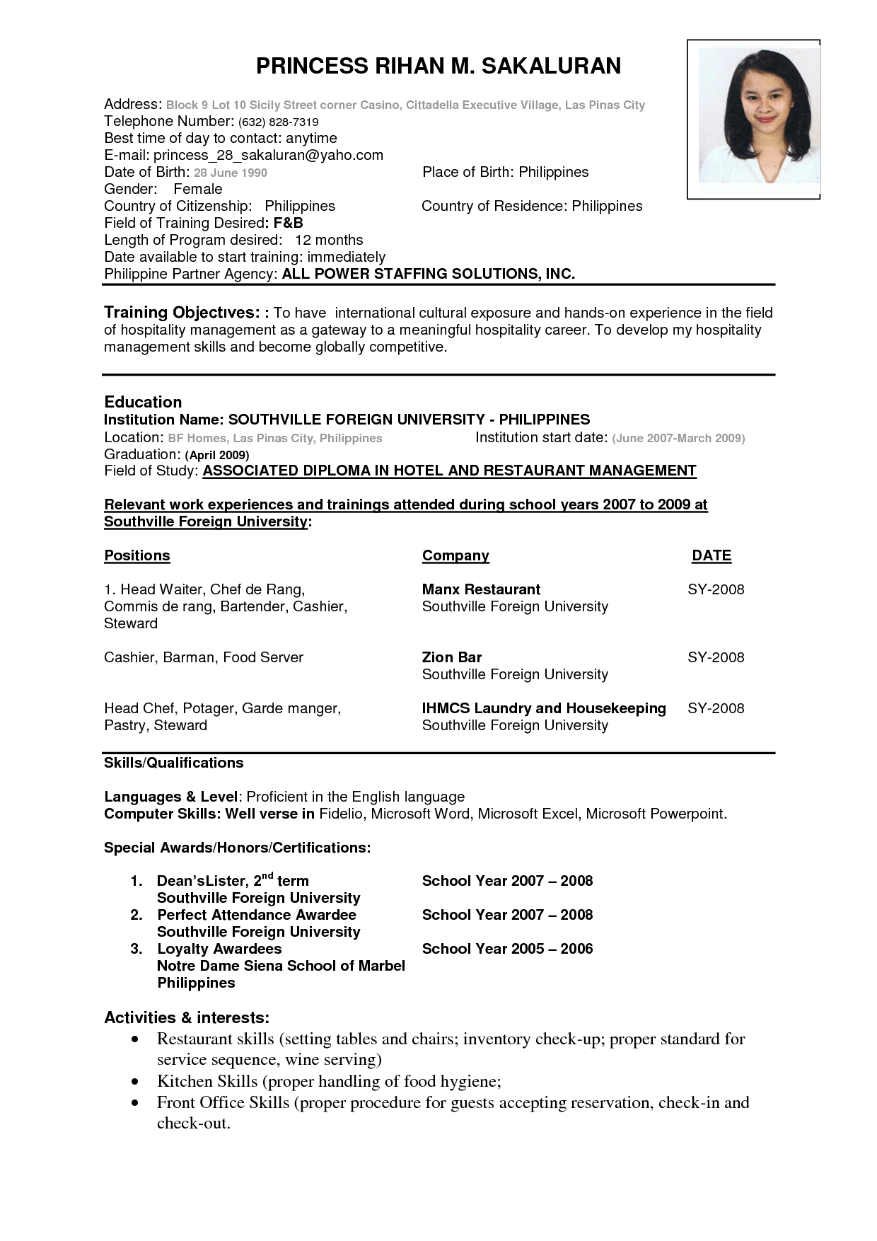 Cv Resume Template For Students