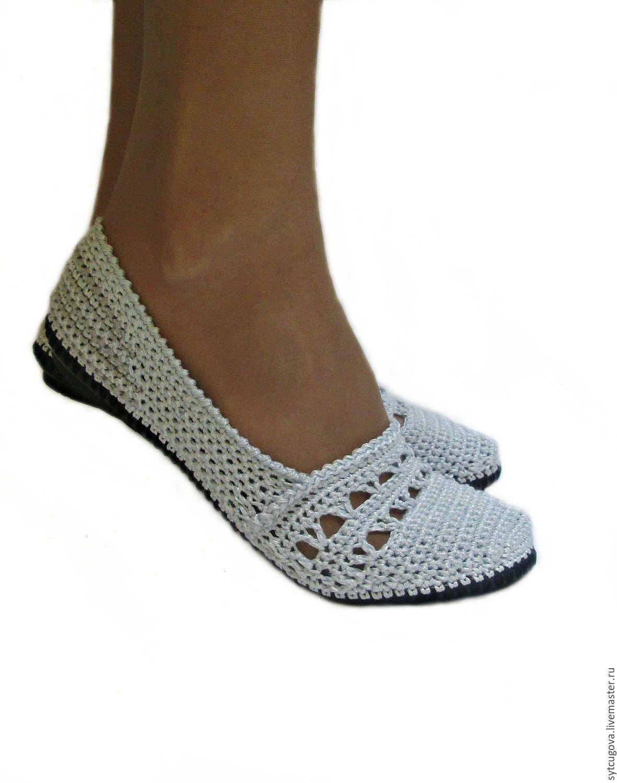 купить вязаная обувьбалеткиклассика серебряный балетки