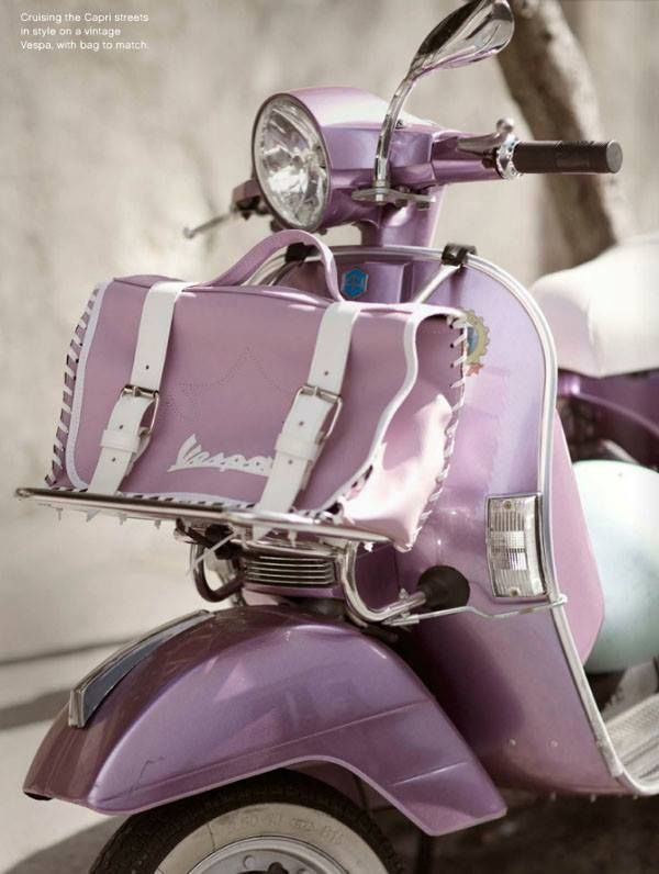 Lavender Color with lavender bags Vespa | Mopeds, Scooters ...