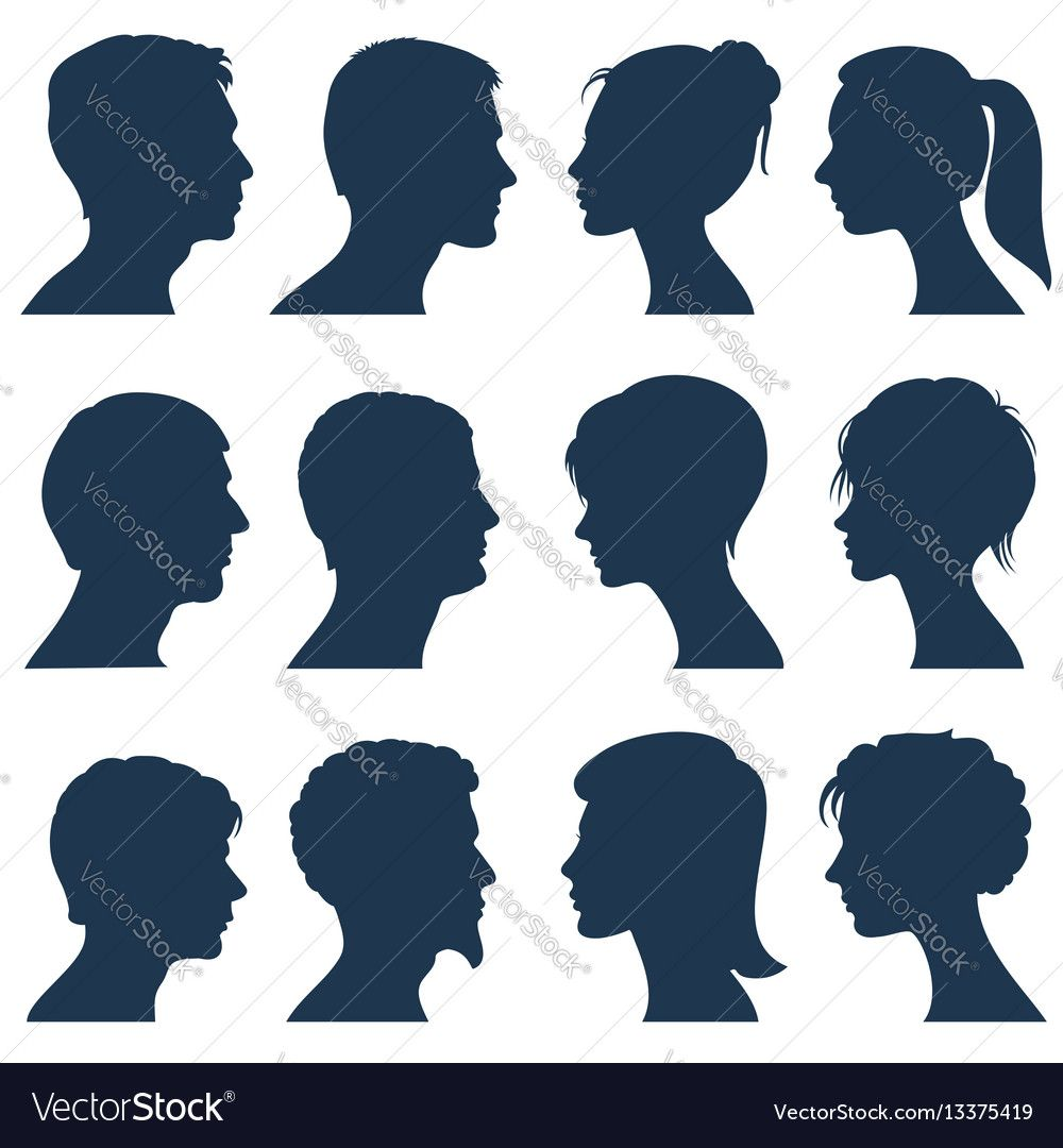 Man And Woman Face Profile Silhouettes Vector Image On Vectorstock Face Profile Side View Of Face Silhouette Face