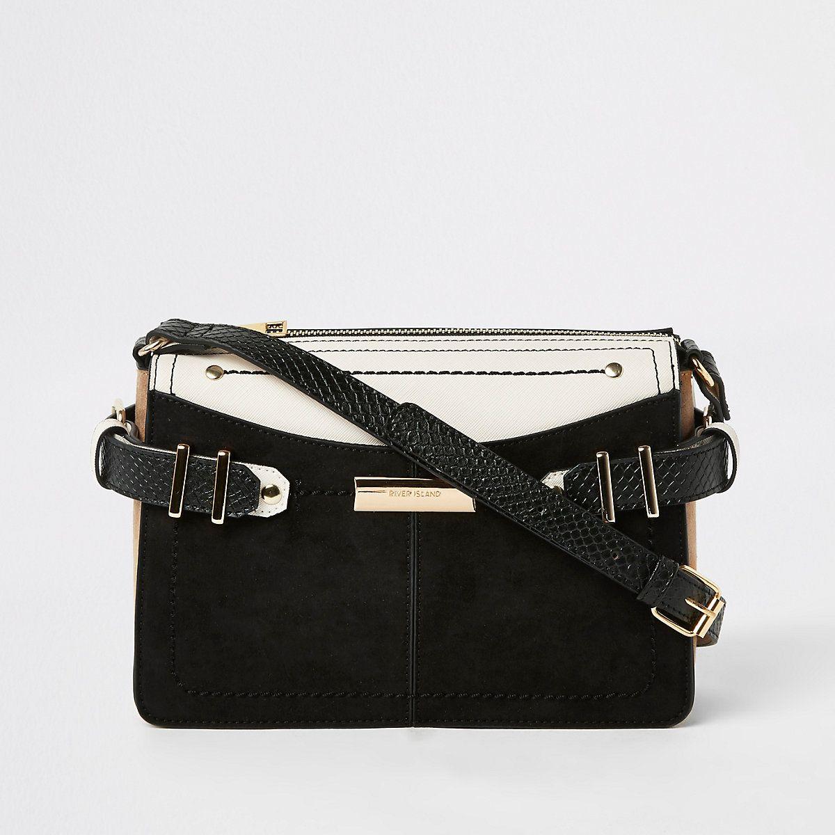 b2b980c76a07 Black contrast tab side cross body bag - Cross Body Bags - Bags   Purses -