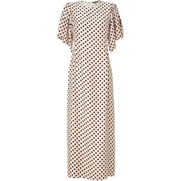 RAOUL Cream Polka Dot Silk Tara Maxi Dress ($590) ❤ liked on Polyvore