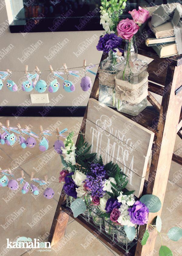 www.kamalion.com.mx - Decoración / Busca tu mesa / Menta&Morado / Lilac&Mint / Vintage / Rustic Decor / Baby Shower  / Owls / Lader / Escalera / Flores / Placing cards / Búhos / Pájaros.