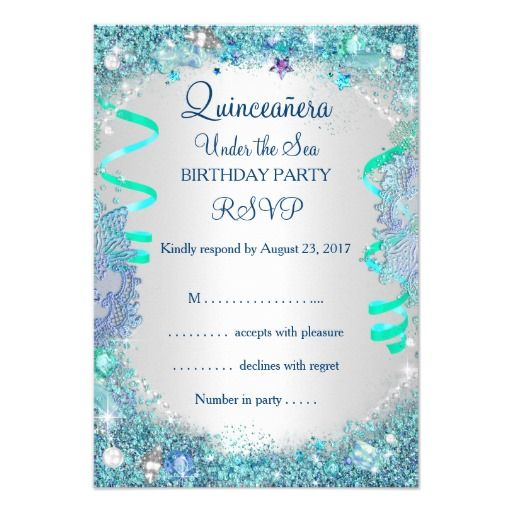 RSVP Blue Under The Sea Quinceanera Th Birthday Card Bling - Birthday invitation card rsvp