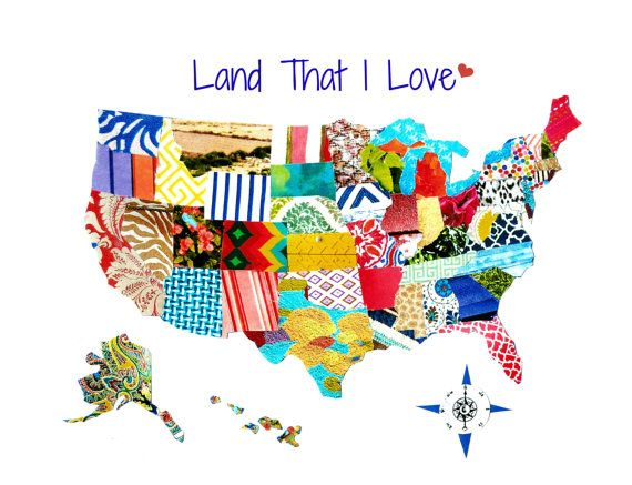 USA Map Land That I Love By UpAgainstTheWall On Etsy Torn - Us map photo collage