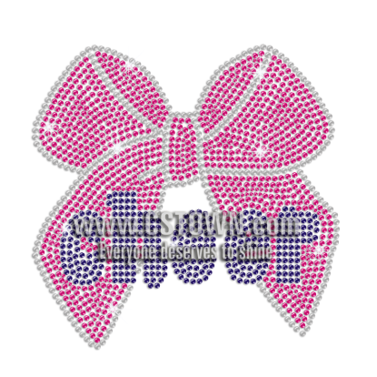 Royal Blue Cheer with Pink Bowknot Iron on Rhinestone Transfer Motif