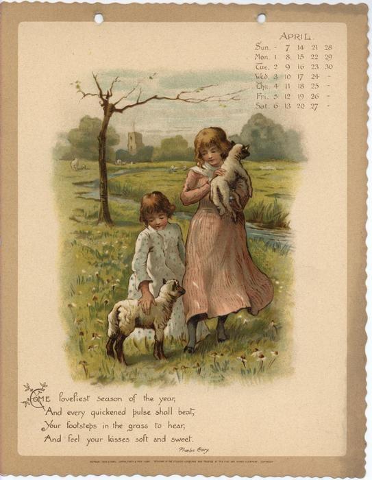 As Months Go By Calendar For 1895 Vintage Calendar