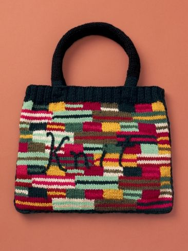 Crazy Stripes Knit Bag Yarn Free Knitting Patterns Crochet