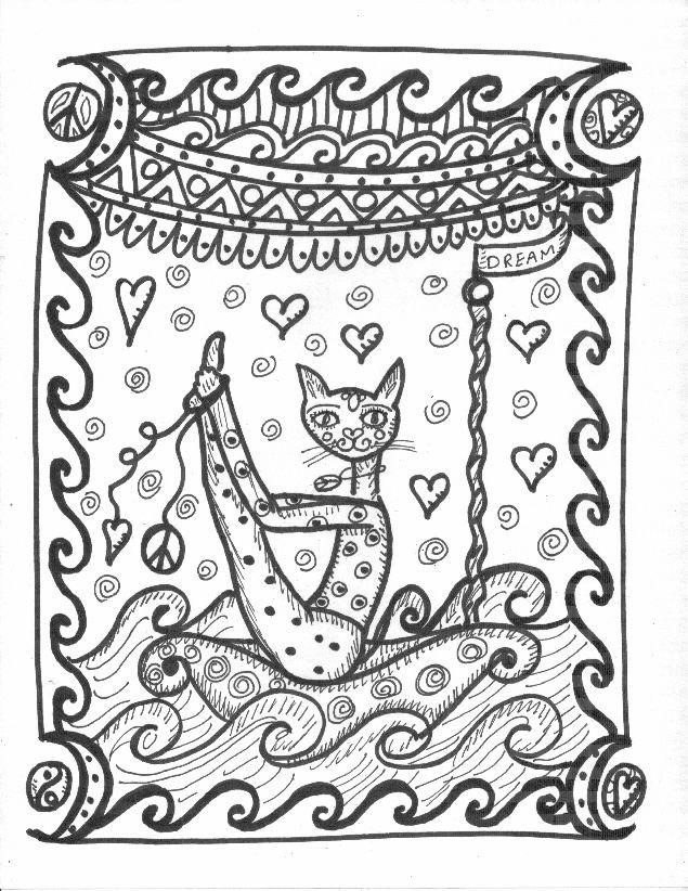 Yoga Kitties Coloring Book Hippie Art By DawnCollinsArt Cat