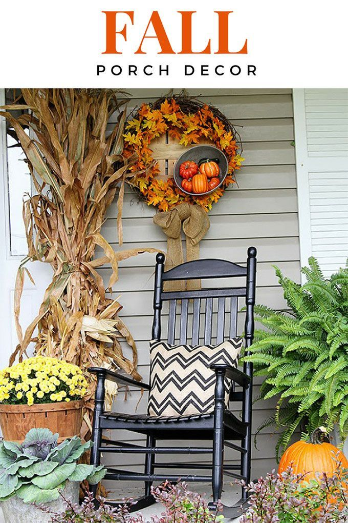 Traditional Fall Porch Decor Including Cornstalks Pumpkins And A DIY Wreath Lots Of