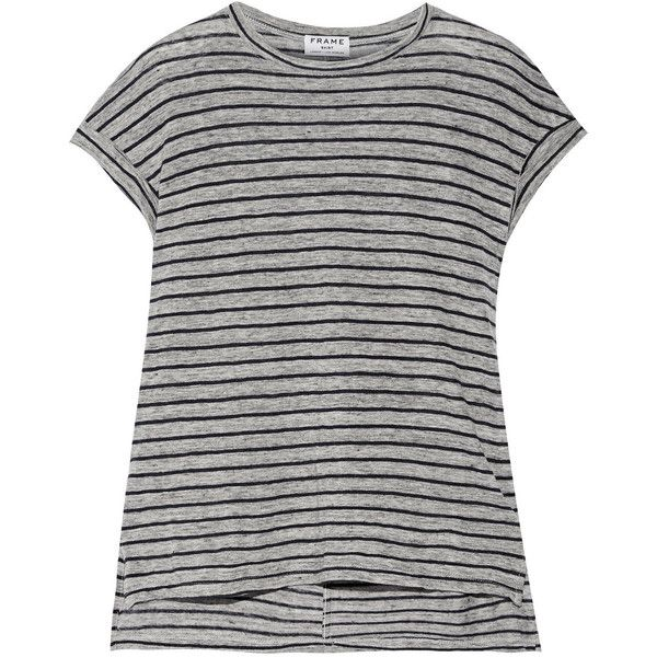 Frame Le Muscle striped slub linen T-shirt (¥11,085) ❤ liked on Polyvore featuring tops, grey, frame denim, stripe top, muscle tshirt, grey top and relaxed fit tops