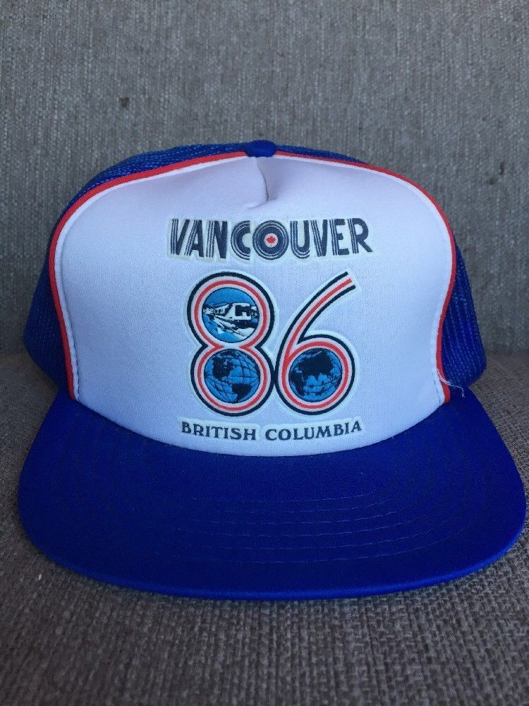bae7750af2ab8 Vtg Vancouver Expo 86 Blue Trucker Hat Mesh Snap Back British Columbia 1986  80 s