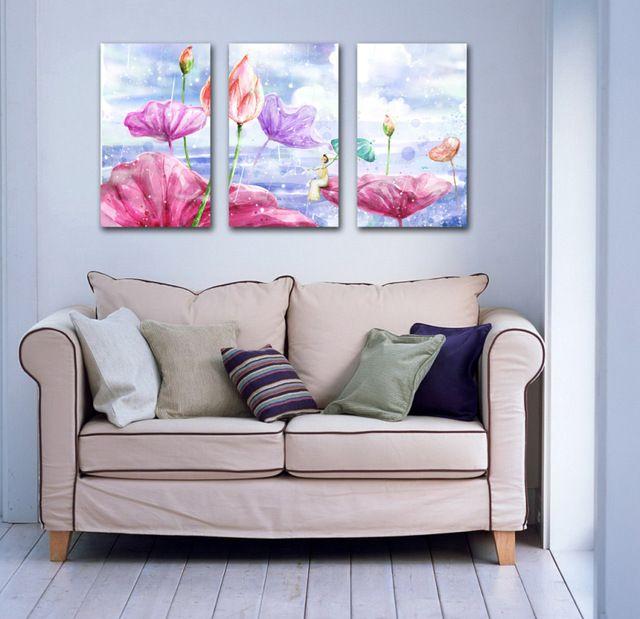 Freies schiff 3 Panel Modernen Lotus Blume Leinwand Malerei Bild - wohnzimmer bilder abstrakt