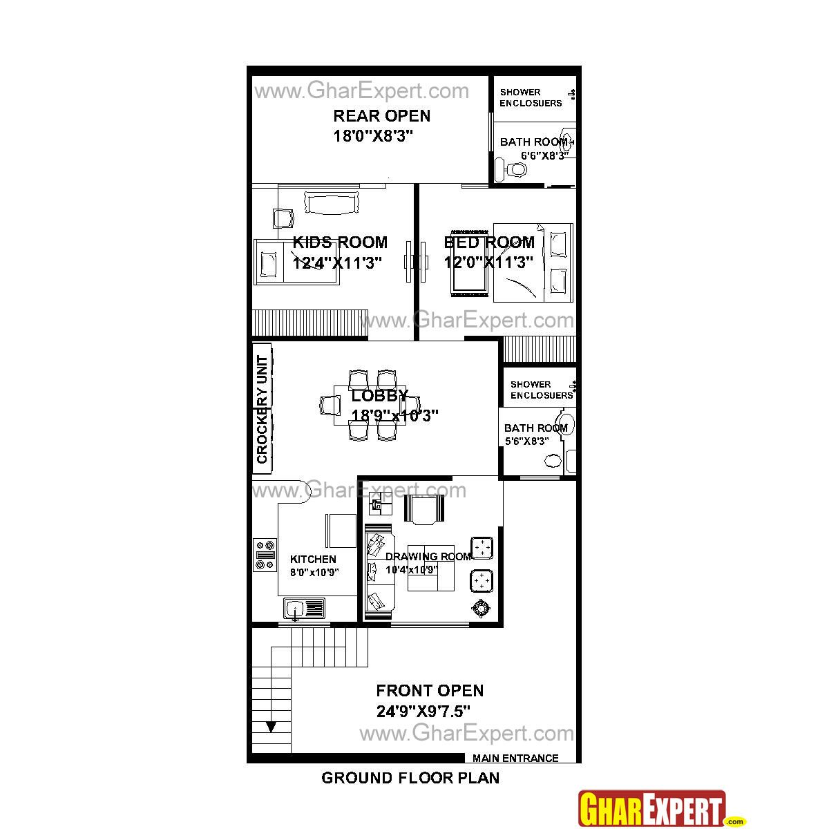 House Plan For 25 Feet By 53 Feet Plot Plot Size 147 Square Yards Gharexpert Com Square House Plans House Plans Floor Plans