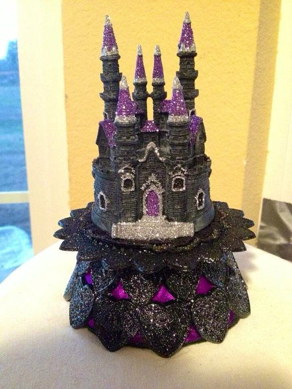 DELUXE Purple Gothic Castle Wedding Cake Topper RESERVED for Stacy ...