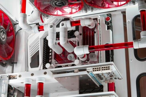 Red White Computer Pc Tower Liquid Cooled Setup Case Custom Pc Custom Computer Diy Computer Case