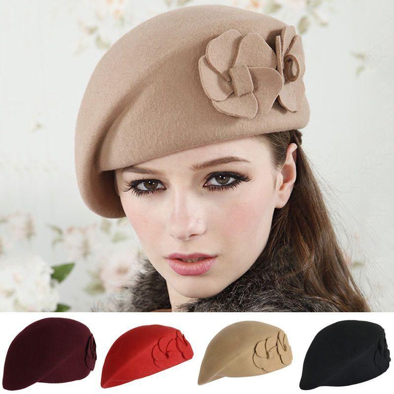 60b1ac2afaa29 Fashion Lady Women Wool Warm Felt French Flower Beret Beanie Ski Hat Tam Cap