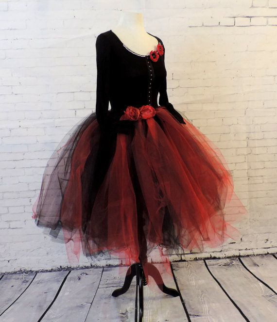 Red and Black Tulle Dress
