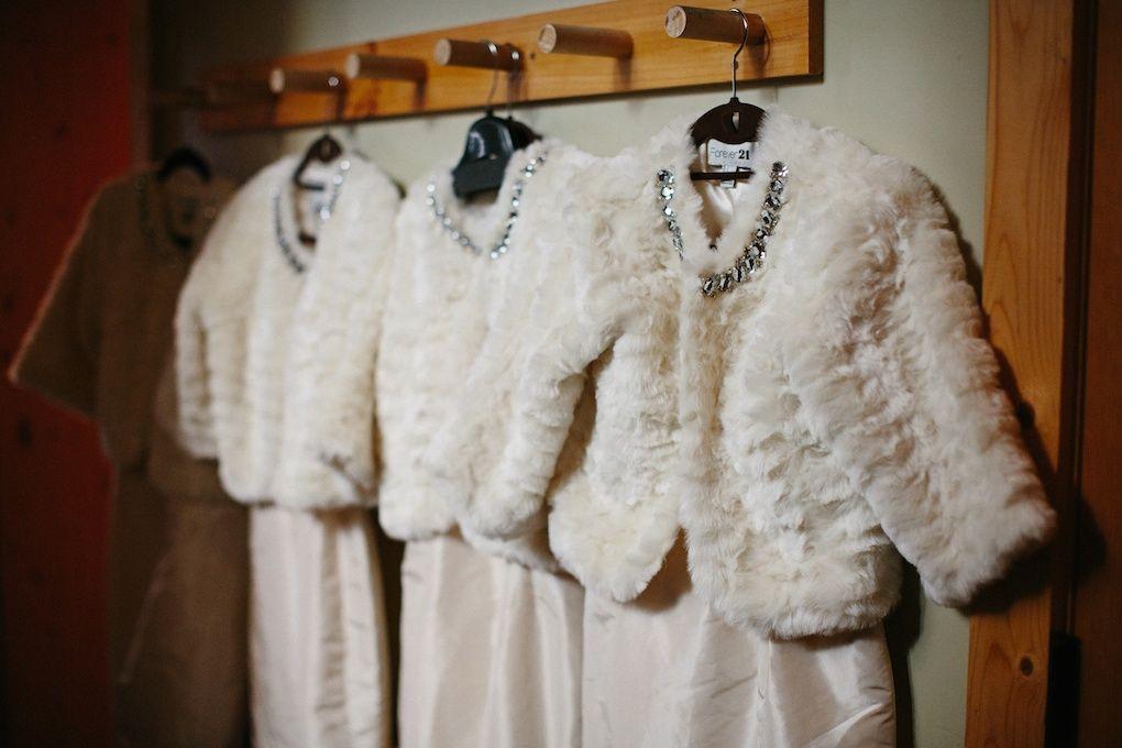 Sundance resort winter wedding fur jackets