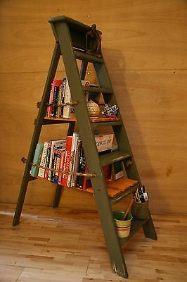 Vintage Wooden Step Ladder Shelves Wooden Steps Step Ladders Ladder Shelf