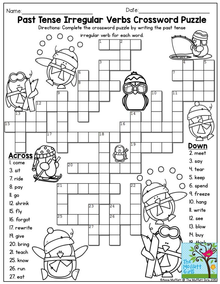 Past Tense Irregular Verbs Crossword Puzzle- Such a FUN activity for ...