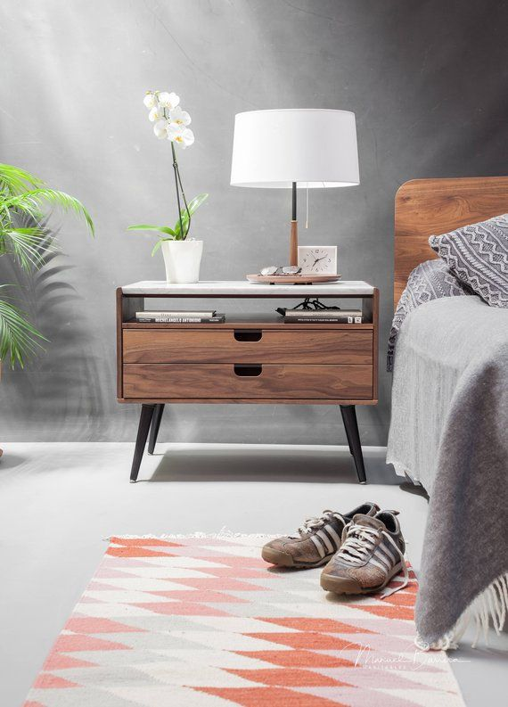 Best Nightstand Bedside Table With Two Drawers In Solid Walnut 640 x 480