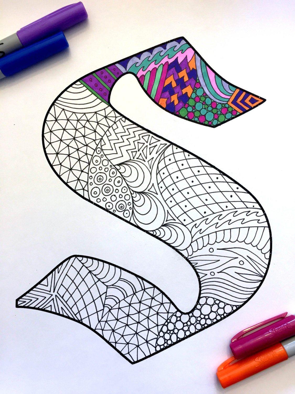 Letter S Zentangle Inspired By The Font Deutsch Image 0 Pintura De Letras Mandala Sencilla Disenos De Letras