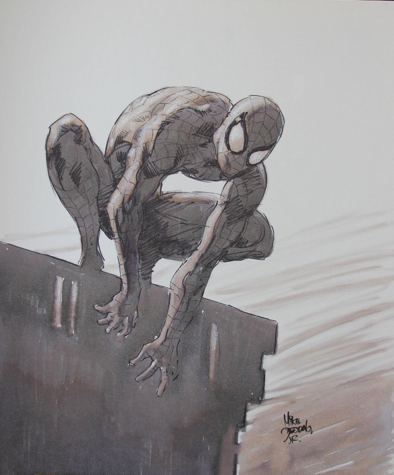 Spider-Man by Mike Deodato Jr. (water colour on canvas)