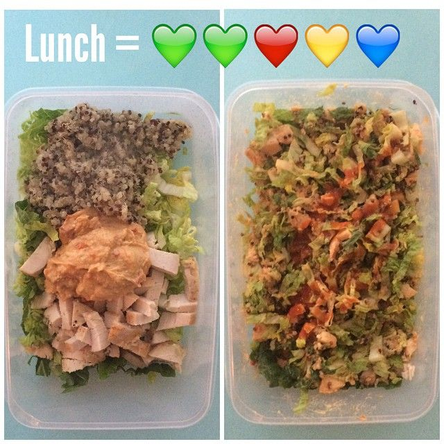 21 Day Fix Chopped Salad! 2 greens of romaine 1 red of chicken 1 yellow of quinoa 1 blue of hummus