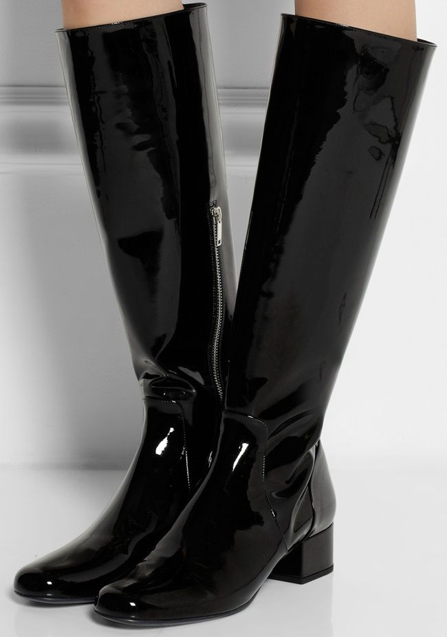 4ba5e906001 Black Shiny Patent Leather Knee High Boots From Yves Saint-Laurent ...