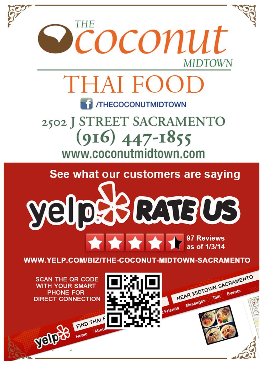 Promotion for the Coconut, this flyer pushed their yelp reviews to ...