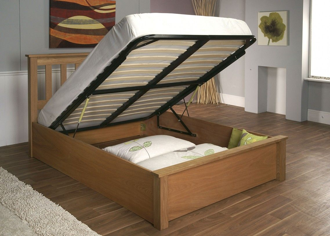 Beige Wooden Diy Bed Frame With Storage Under Black Lift Up Support Plus Cutout Headboard