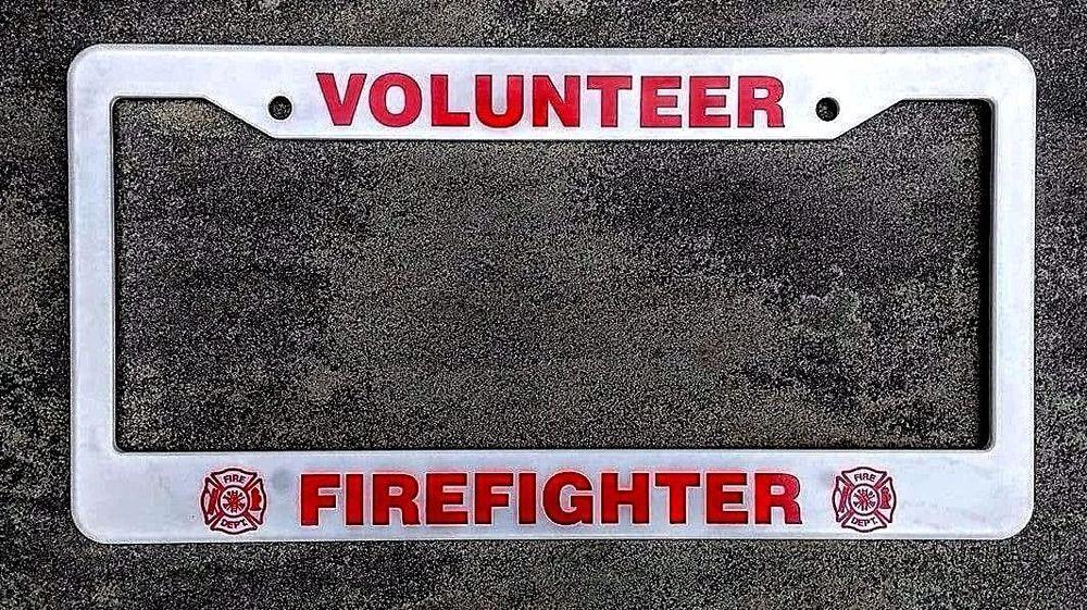 VOLUNTEER FIREFIGHTER License Plate Frame w/ Fire Department Maltese ...