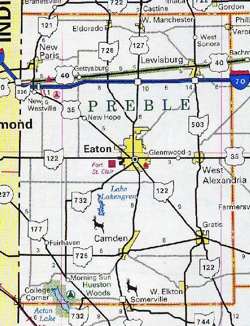 Map Of Preble County Ohio Map Of The Preble County Ohio