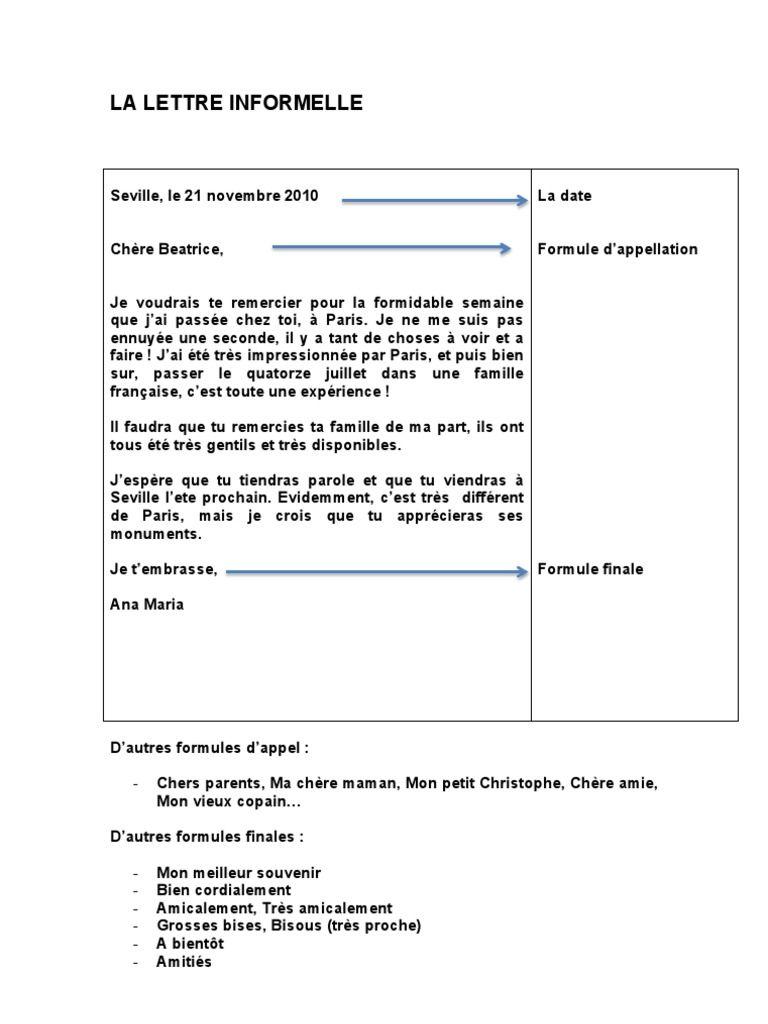 La Lettre Informelle Lettre A Cours De Langue Lettre Amicale