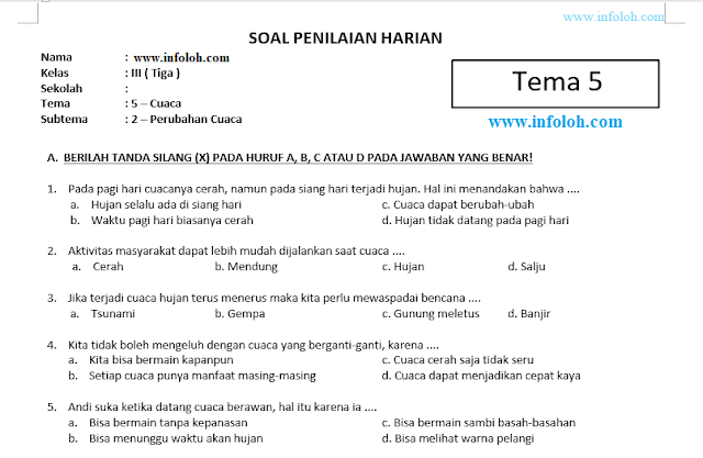 Jawaban Tematik Kelas 3 Tema 5