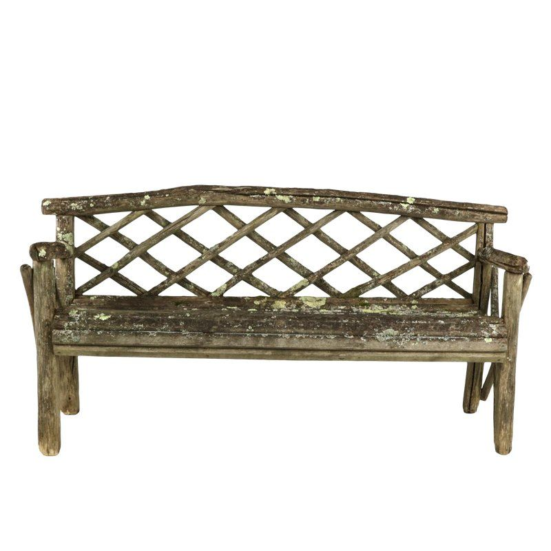 1900s English Lattice Back and Traces of Old Paint & Lichen Rustic Garden Bench is part of English garden Bench - Weathered & rustic garden bench with lattice back and traces of old paint and lichen, English, circa 1900, This strikingly beautiful log wood bench seat is aged a silverygrey with graceful organic lines only found in nature  height 32 in  81 cm , width 68 in  173 cm , depth 21 in  53 25 cm