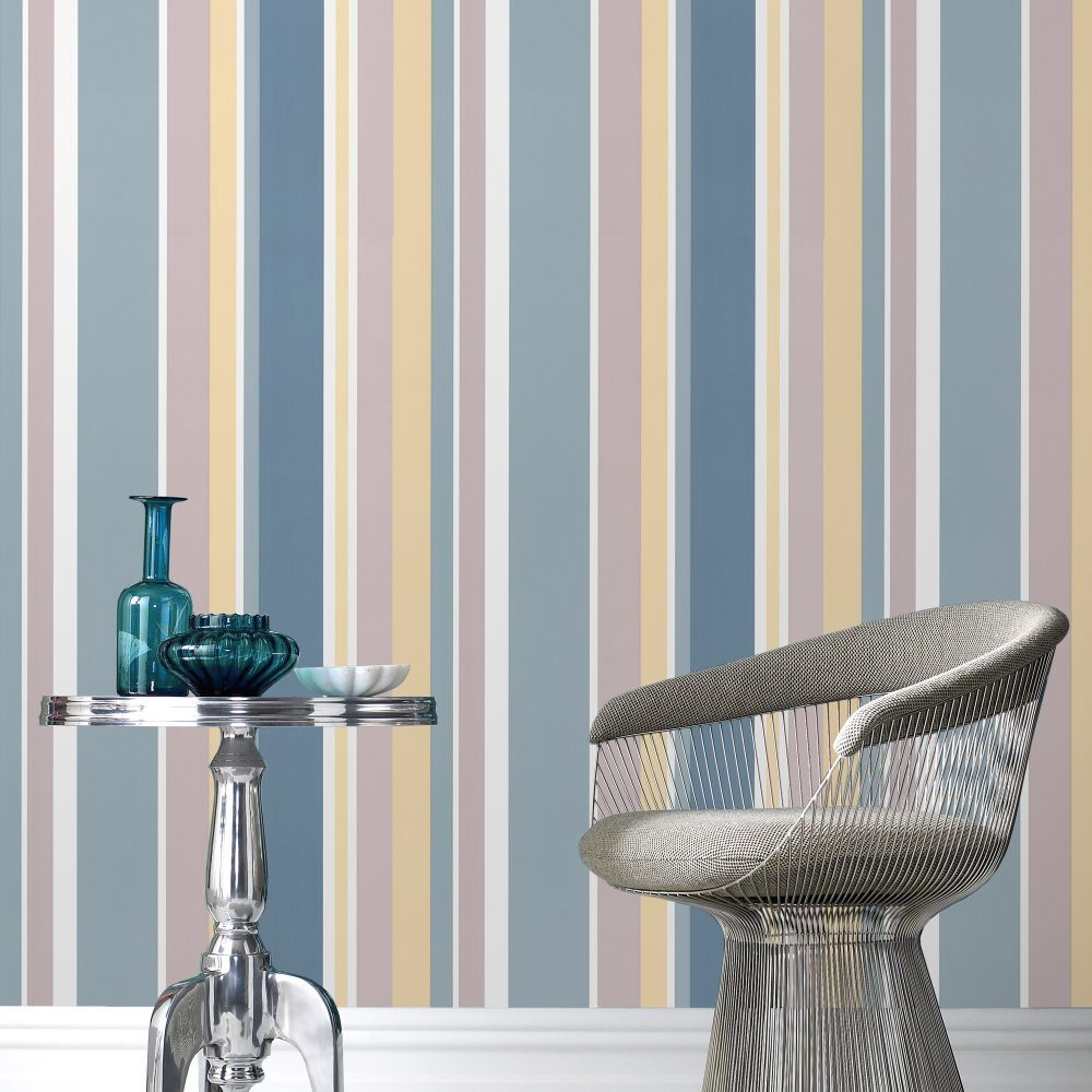 Fresco Rico Stripe Teal Wallpaper by Graham and Brown £7
