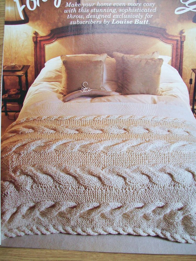 Chunky throw blanket bed cover cable design knitting