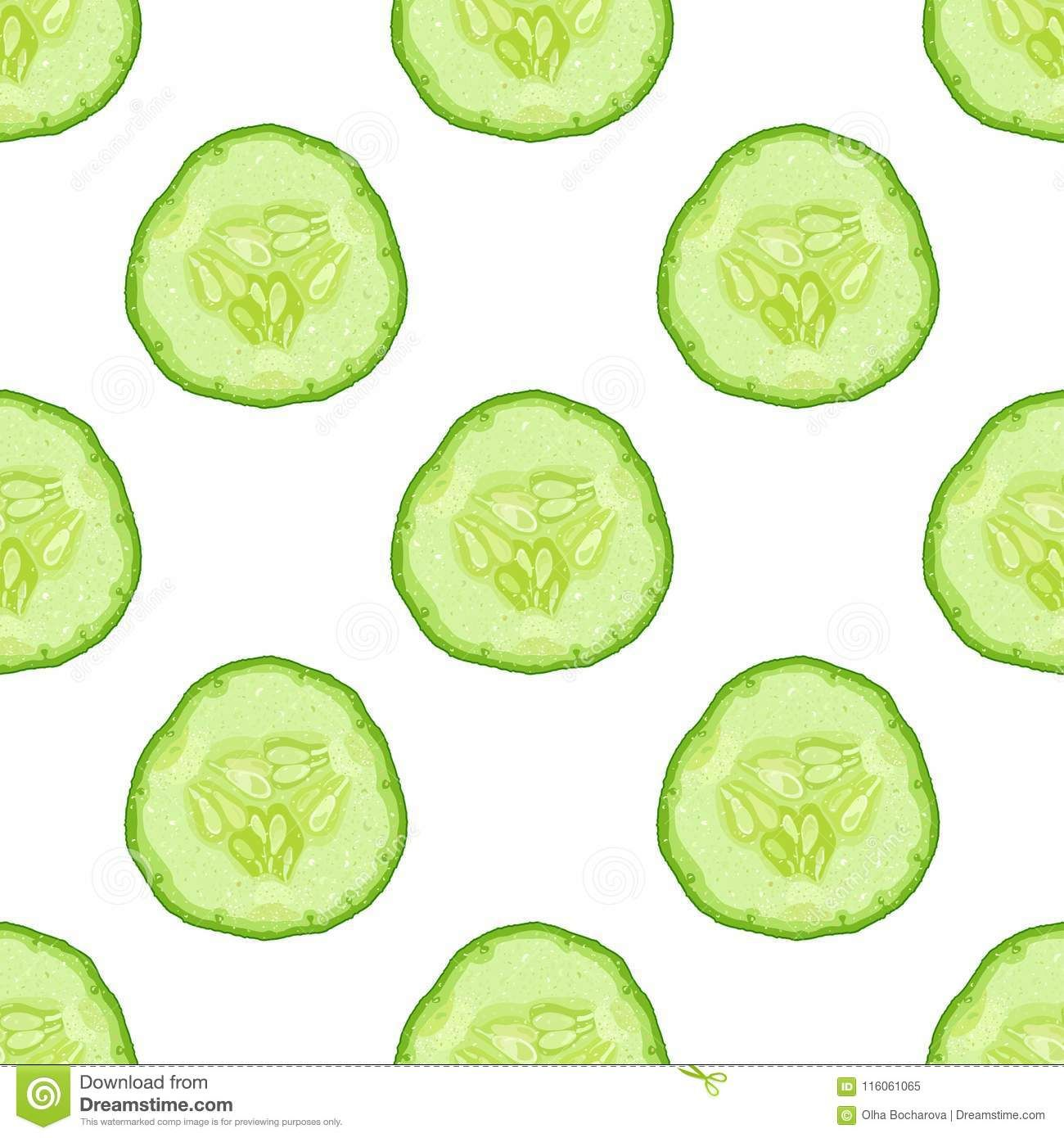Vector Seamless Pattern Of Cucumber Slice On White Background Cucumber Seamless Patterns White Background