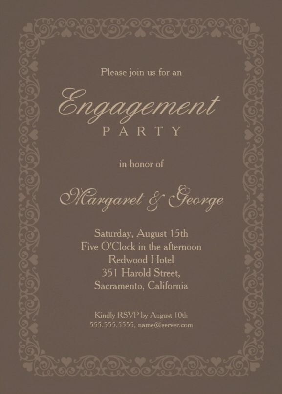 Elegant brown engagement invitation template - Personalize Online