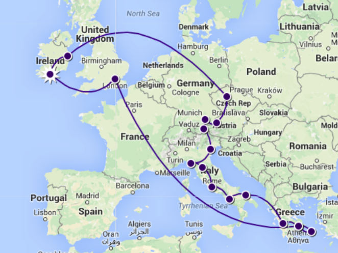 Travel map for our Eurotrip On April 5 we will be journeying to